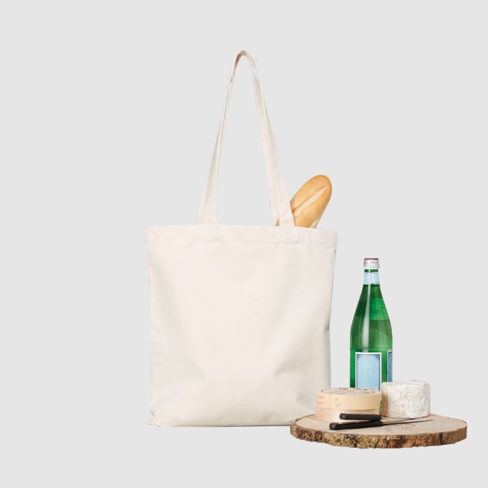 Custom cotton tote bag with long handles and white stitching