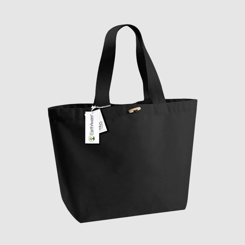 Custom cotton toggle shopper in black, made from cotton with short handles