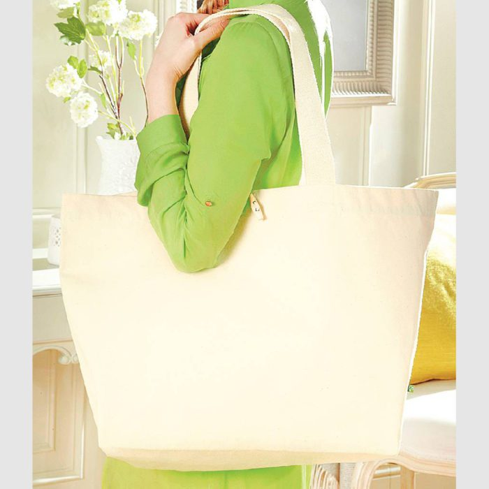 Custom organic toggle shopper, made with organic cotton canvas, two long handles