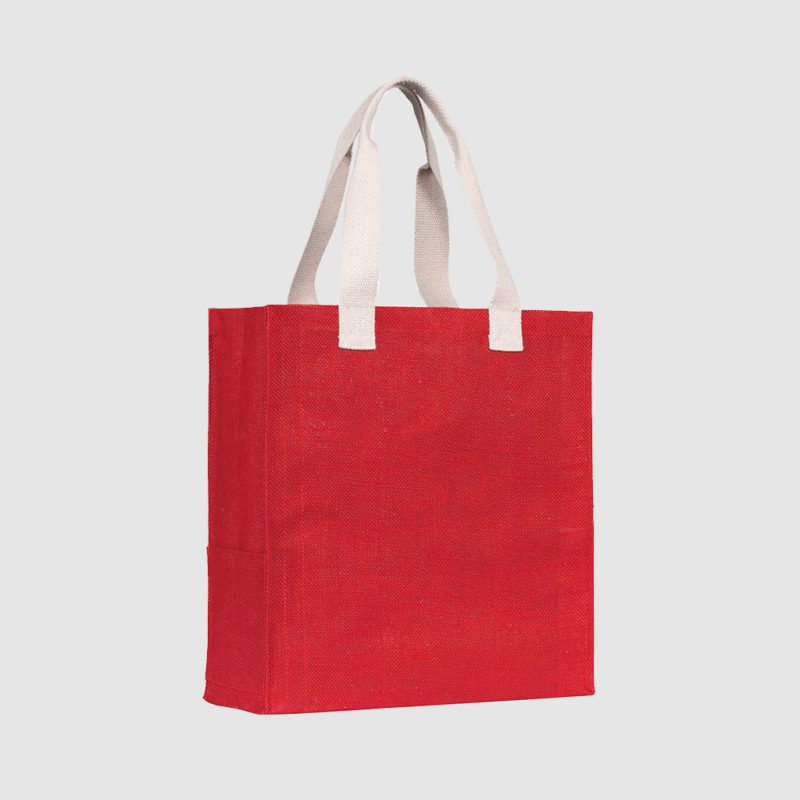 Custom natural jute tote, with webbed cotton short handles, customisation options are available
