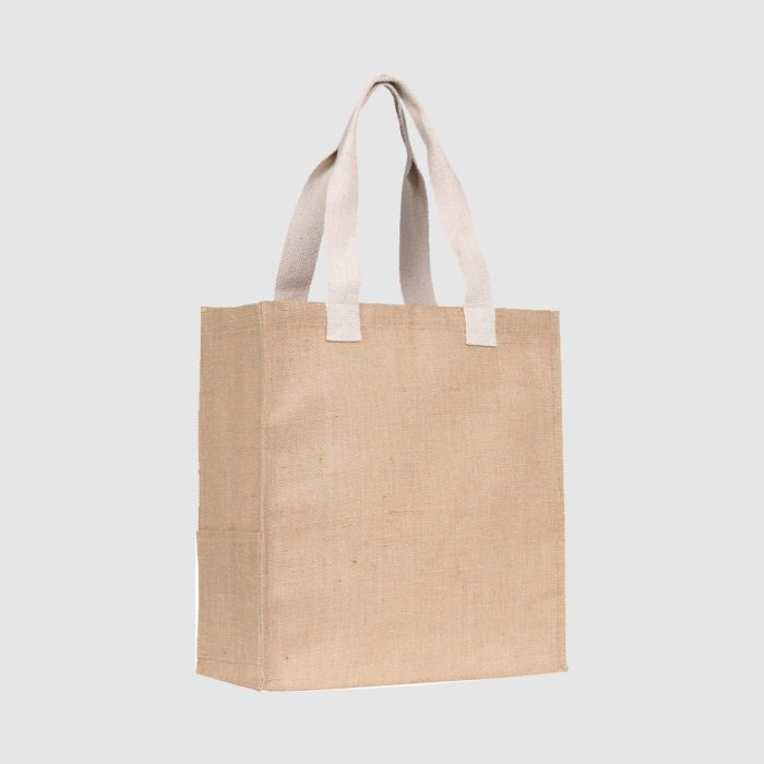 Custom jute bag made from cotton canvas with cotton webbed handles,
