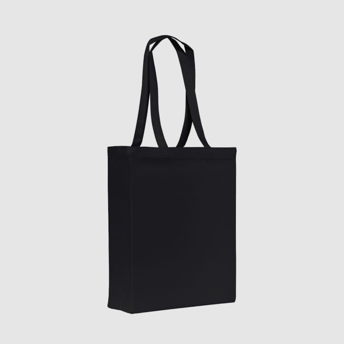 Custom long handle shopper, made from woven, cotton in black