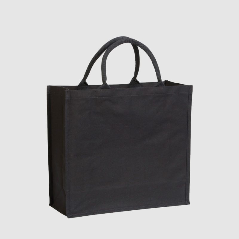 Tote 7oz Rope Handled Laminated Cotton Canvas -Black