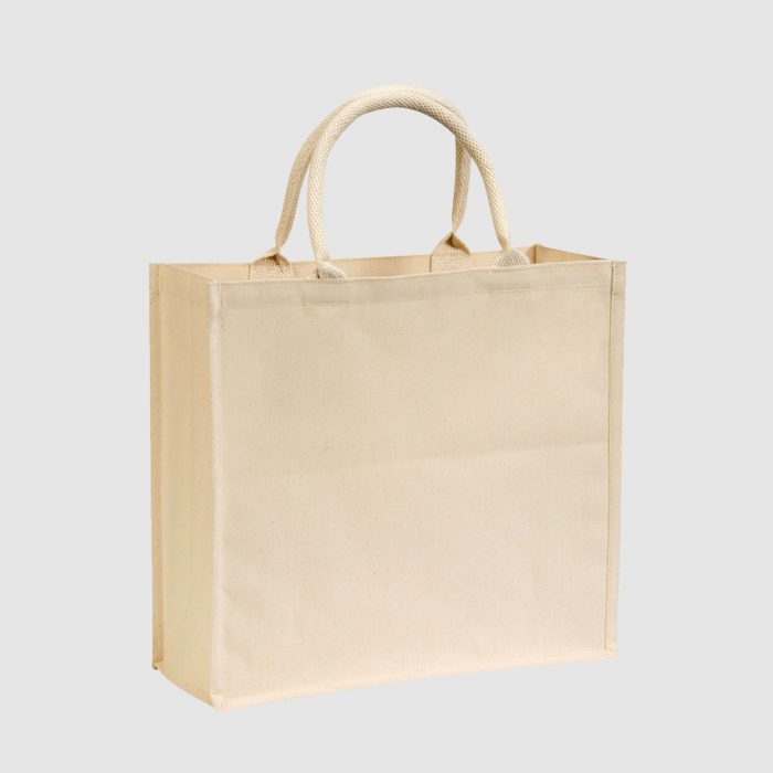 Custom tote cotton bag made from cotton canvas, with rope handles, customisation options available