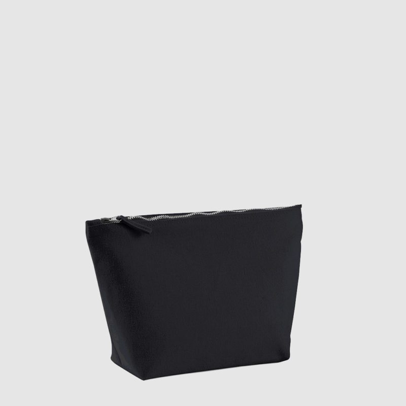 Custom cosmetic bag in black made from cotton canvas