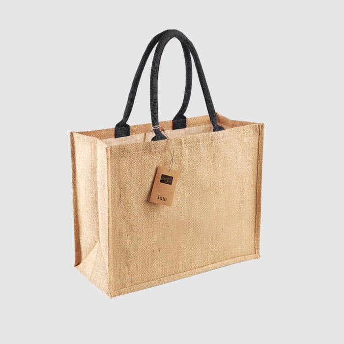 Custom laminated jute shopper, with long handles for hand carry, wide variety of colours