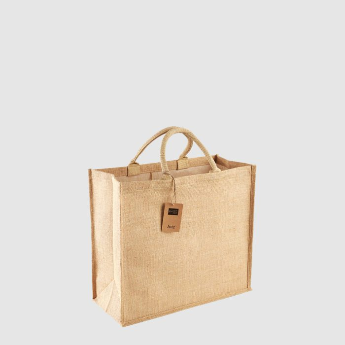 Jumbo jute shopper with two handles, made from laminated jute, strong weave