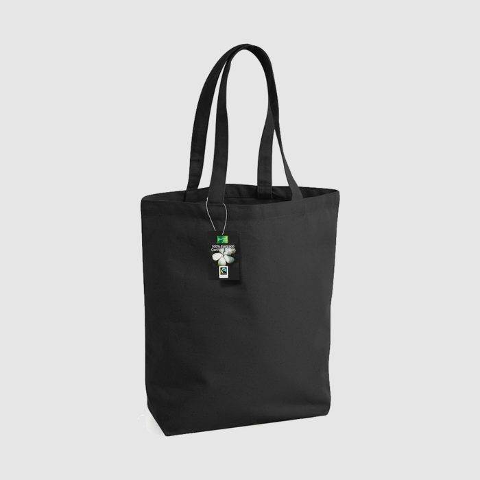 Custom fairtrade tote made from cotton canvas, long black handles and black stitching, eco friendly