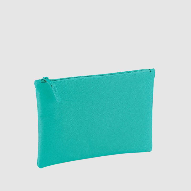 Custom polyester pouch, in blue with blue embroidery