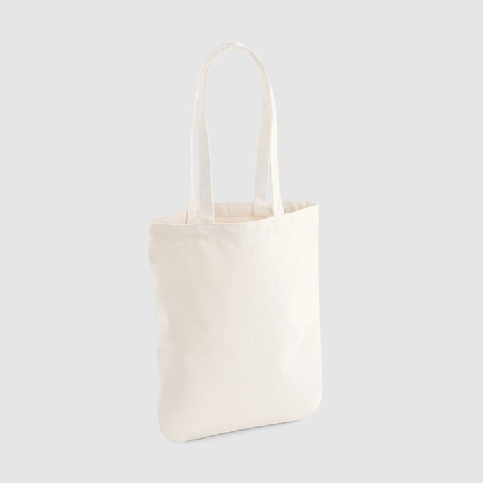 Custom organic eco cotton totes with long handles and black embroidery