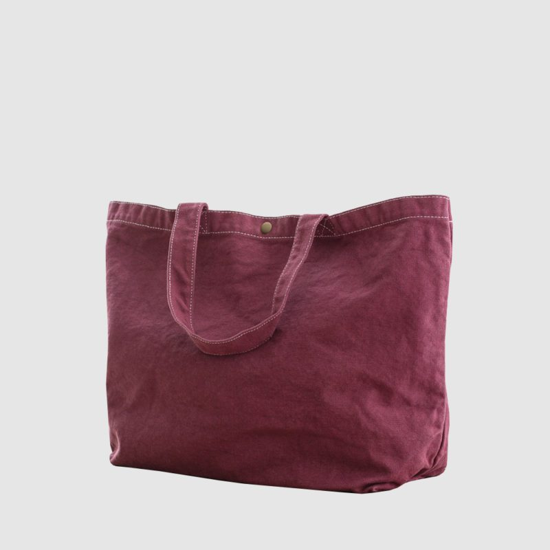 Custom large distressed cotton shopper with different coloured stitching