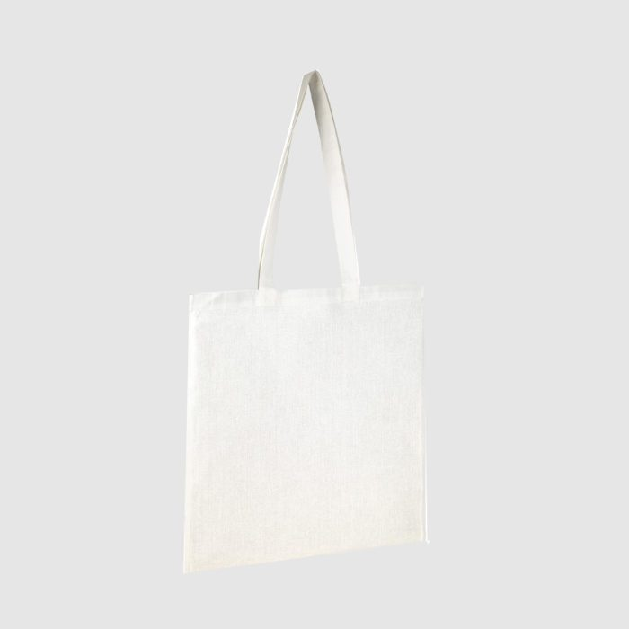Custom organic gusset tote bag with short handles and black embroidery, made from organic cotton