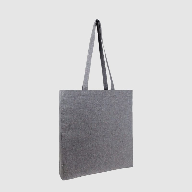 Custom recycled coloured tote bag, with black embroidery, made from recycled fabric
