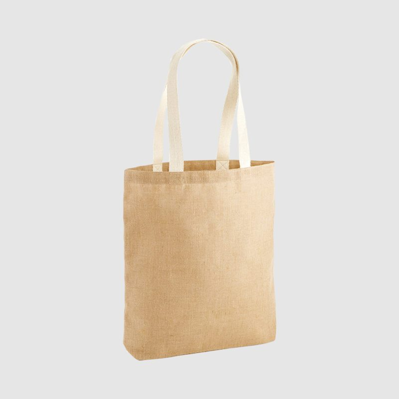 Custom midweight jute bag, made from unlaminated jute with long handles in a natural blue