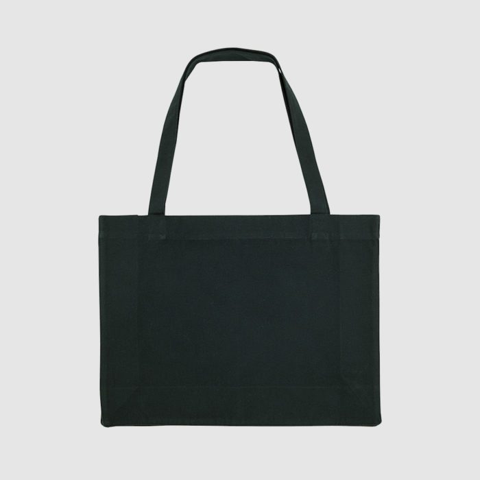 Recycled shopper bag in black, with long handles