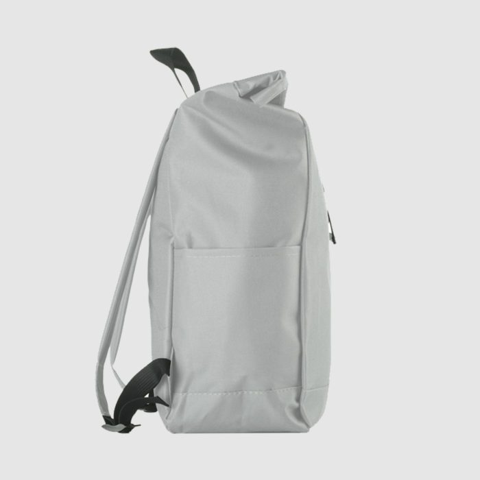 Custom rolled top rucksack with black stitching and interior pocket