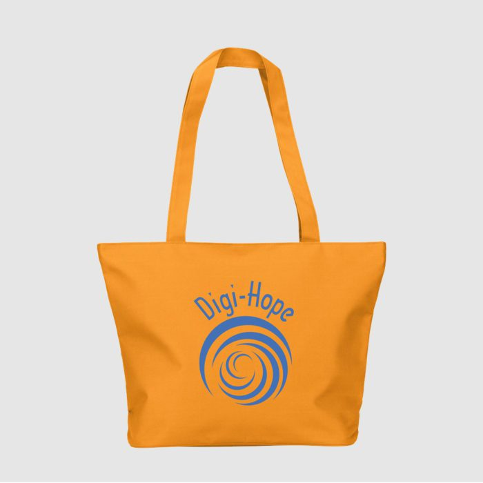 Custom long handle shopper made from polyester, with zipped pouch