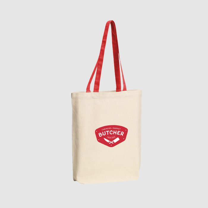 Custom mid weight tote made from tightly woven canvas, with shoulder-carry long handles