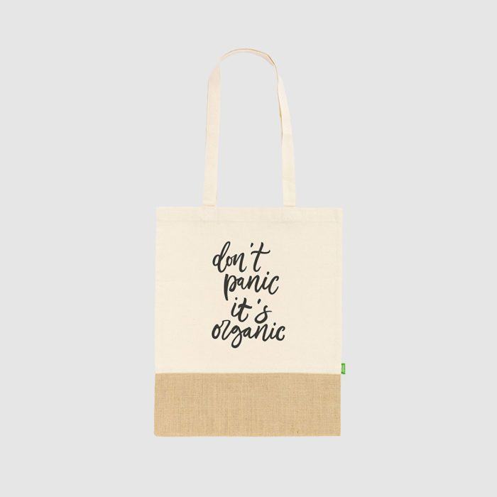 Custom organic cotton and jute tote bag, with long handles