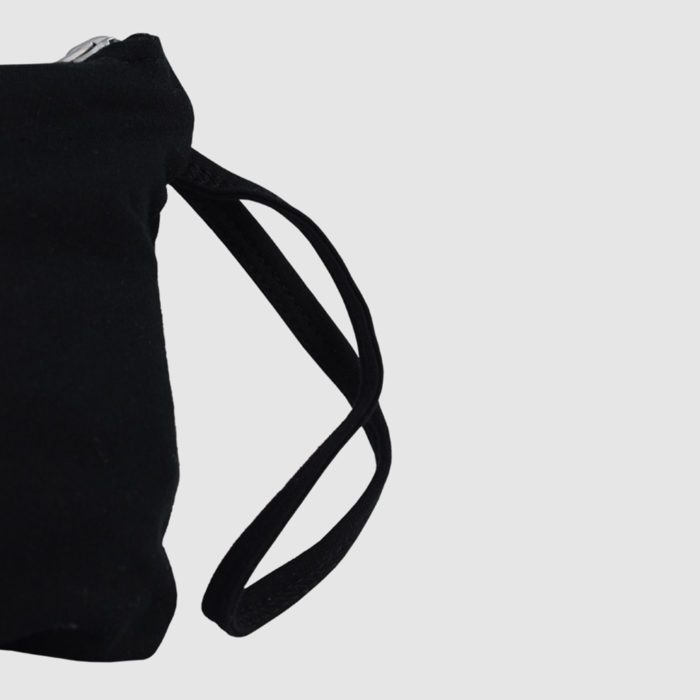 Custom french terry Zipped bag for customisation, in black with inside pocket