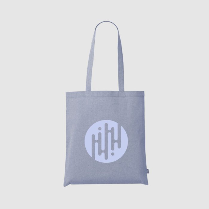 Custom recycled eco cotton tote bags with long handles