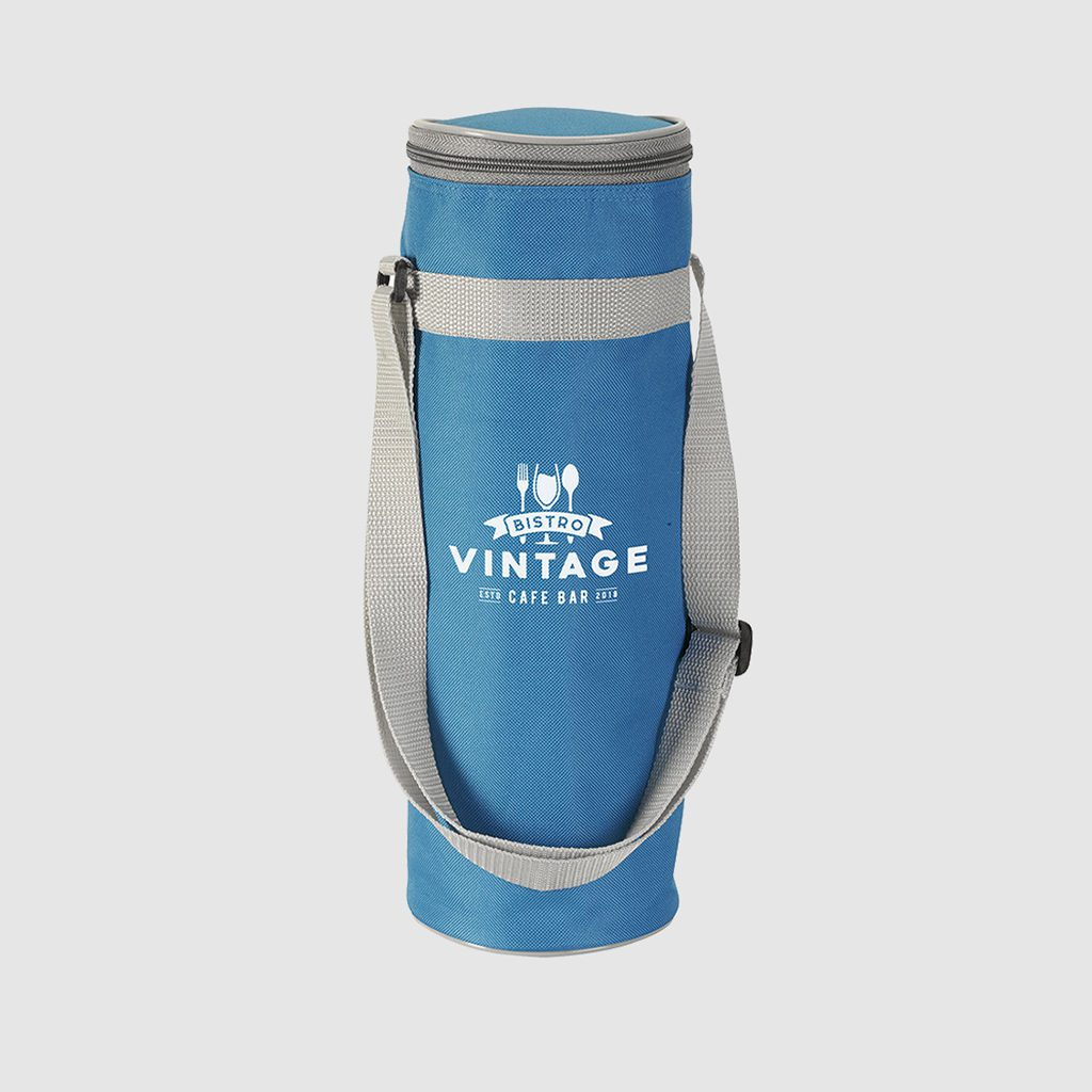 thermal fabric in blue bottle bag