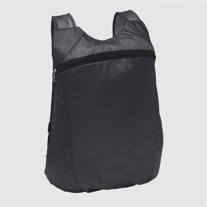 Custom fold up backpack two netted shoulder handles and compact packing into a small pouch