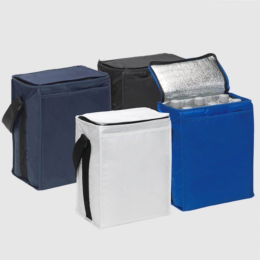Custom cooler bag made with 210d polyester, with insulated inner material and a front slip pocket