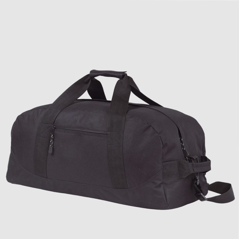 Custom sports holdall with long handles and zip across whole bag; customisation options available for brand advertising.