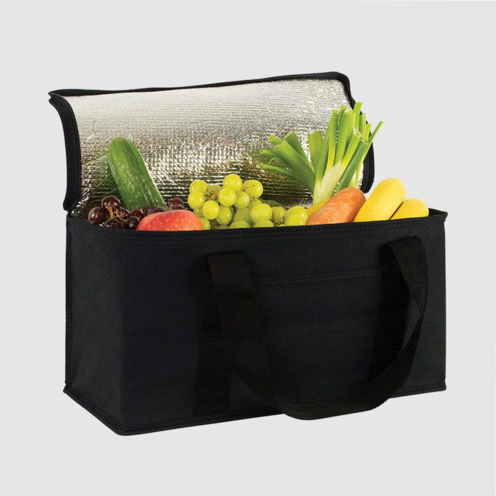 Custom cotton lunch cooler with a long handle and aluminium lining