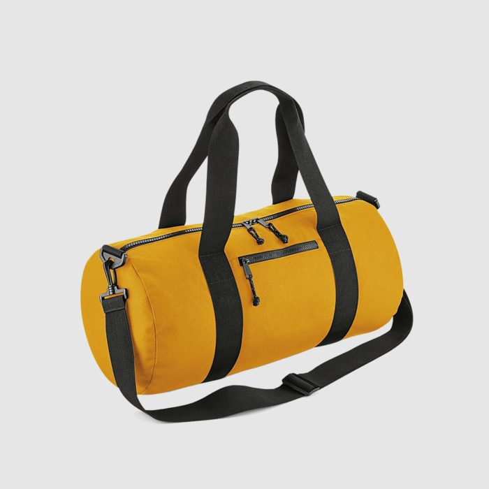 Recycled Barrel Bag in black, with long handles and rpet material