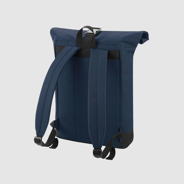 Custom roll top backpack, with padded handle, a shorter handle and an exterior pocket