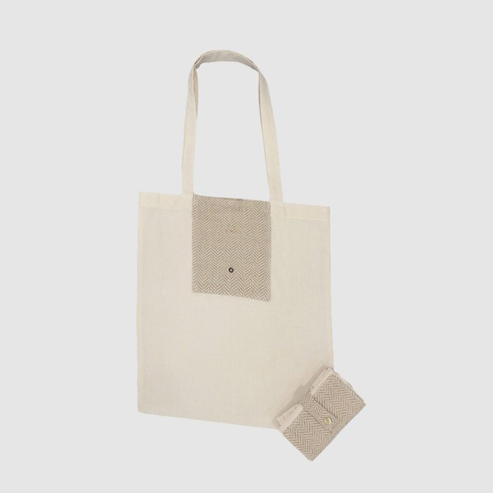Custom foldable cotton tote with a pocket made from jute