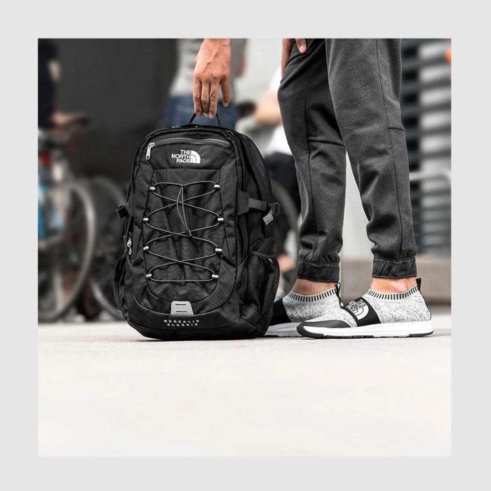 Custom North Face Rucksack with two strong handles, made of polyester