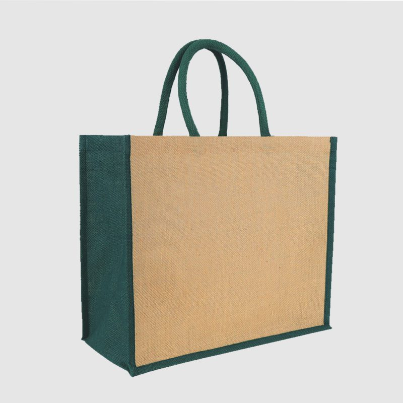 Custom pop sustainable fabric jute tote bag with cotton webbed handles