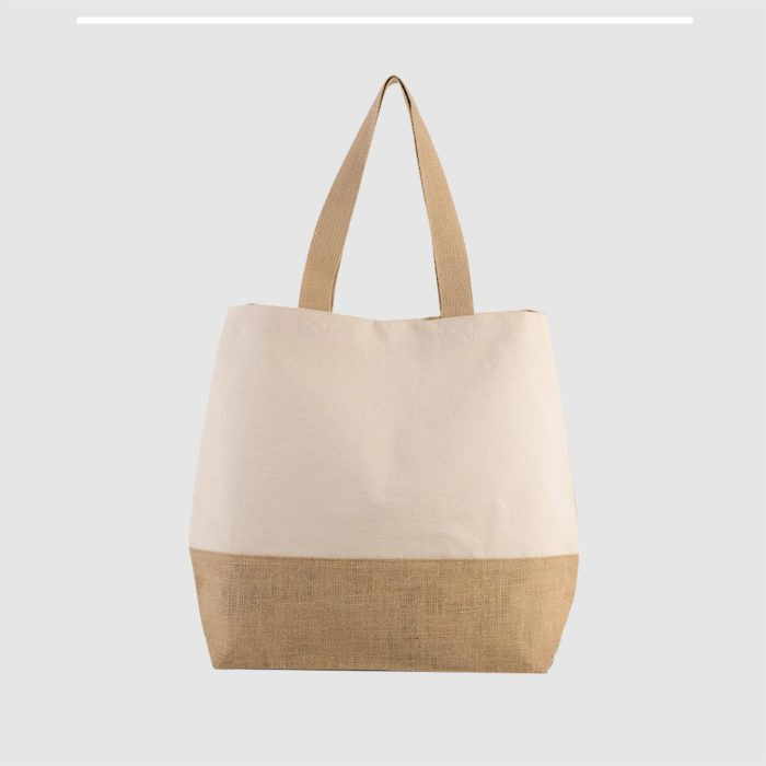 Custom contrast beach bag mad in natural, laminated jute base and long cotton webbed handles