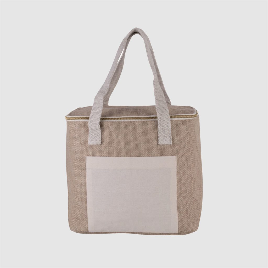 Custom sustainable fabric jute cool bag with front pocket made of jute and canvas