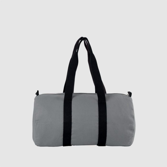 Custom cotton canvas barrel bag with long handles, simple with black stitching
