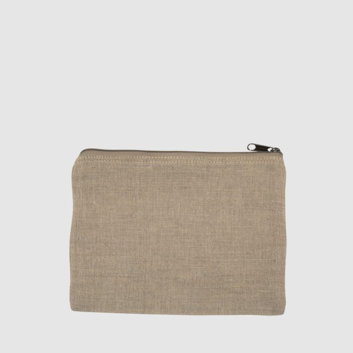 Custom colourful zip pouch, made from cotton and jute with