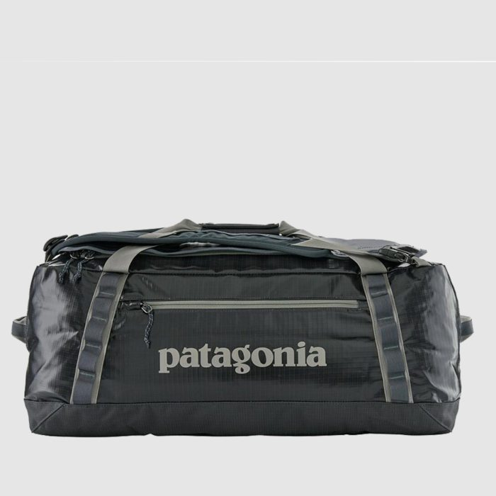 Custom Patagonia black hole duffel bag, with 55l of space