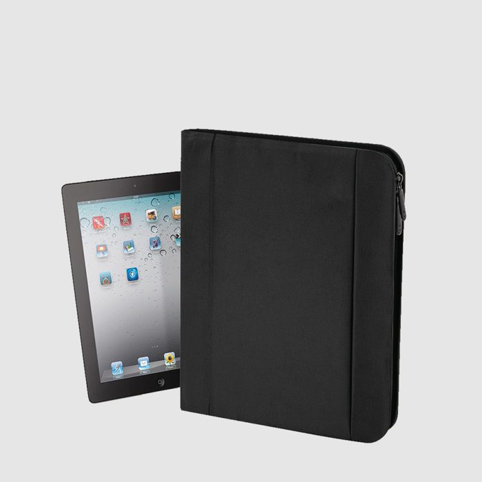 Custom tablet folio made from polyester with a front pocket and pen loops inside
