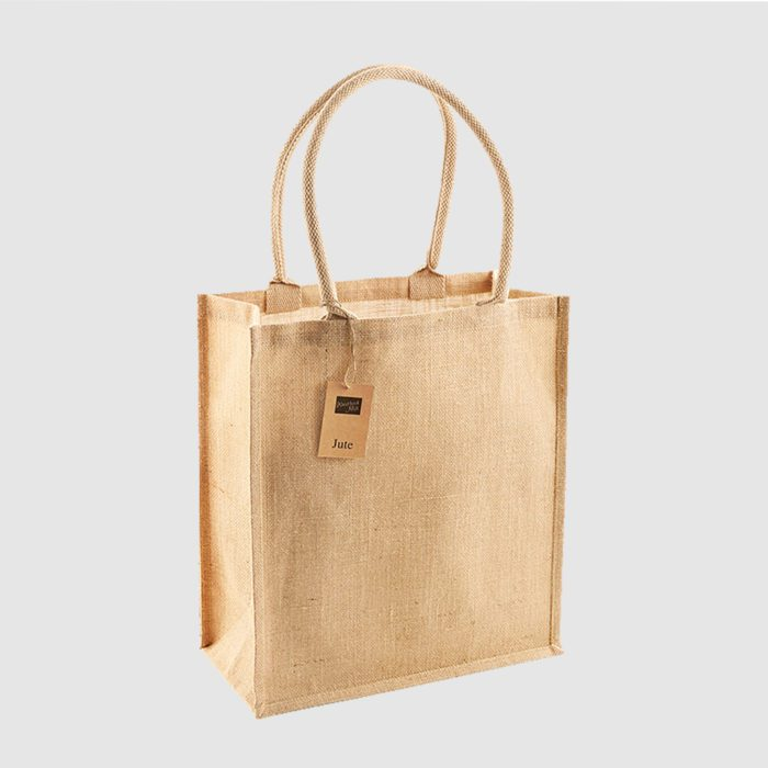 Custom jute tote bag with rolled cotton carry handles with close weaved construction all over