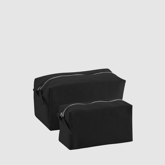 Custom canvas accessory case black, with black stitching and a zip