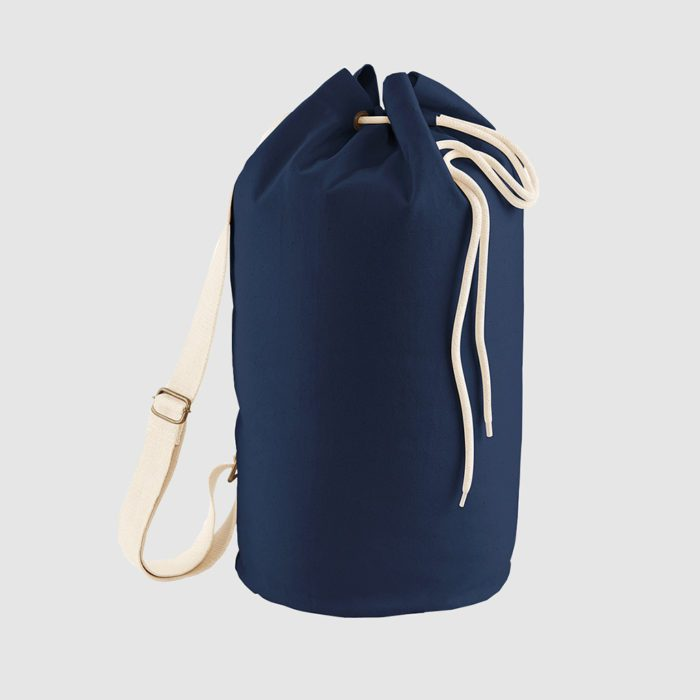 Custom draw cord duffel bag, made with organic cotton canvas and with an adjustable shoulder strap