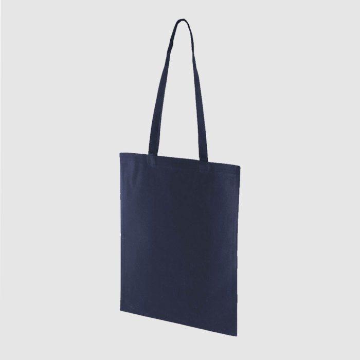 Custom midweight tote, black with long handles, lightweight, made from cotton canvas
