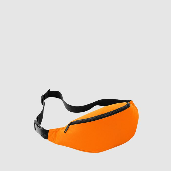 Custom classic bum bag with an adjustable waist strap, a back pocket and front pocket
