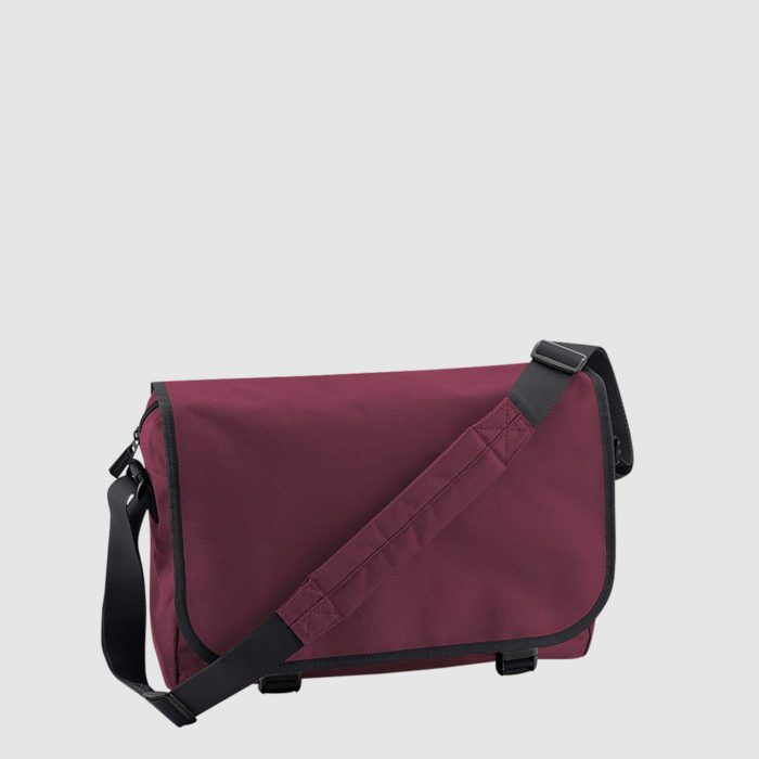 Custom messenger bag with long handles and front zip pockets