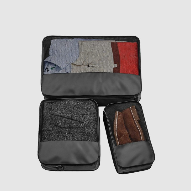 Custom escape packing cubes made from polyester, customisation options available, set of three