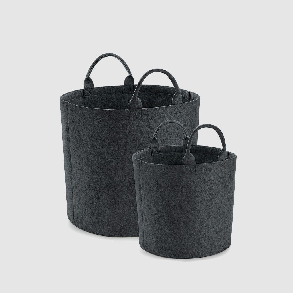 Custom felt storage trug made from polyester trug, with small carry handles
