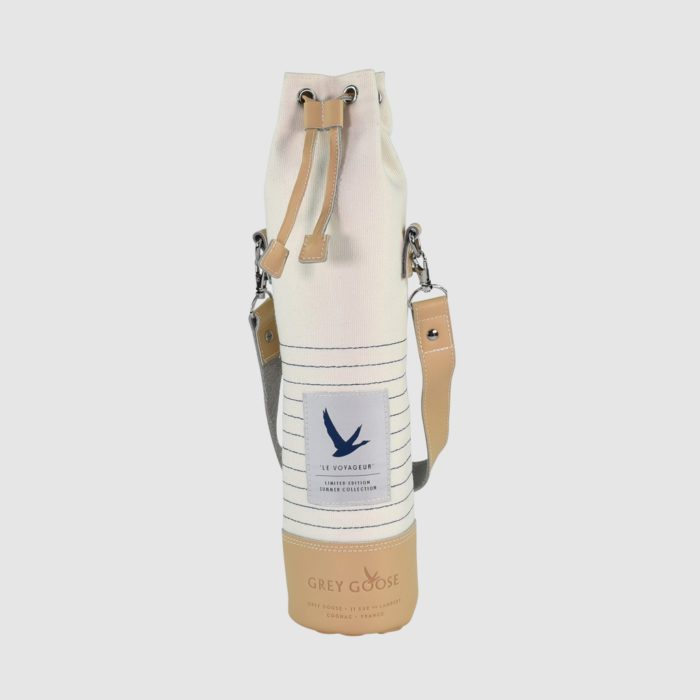 Insulated bottle bag in canvas and vegan leather